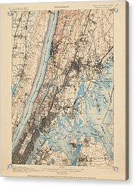 Antique Map Of New York City - Usgs Topographic Map - 1900 Acrylic Print by Blue Monocle