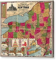 Acrylic Print featuring the drawing Antique Map Of New York State By E. C. Bridgman - 1896 by Blue Monocle