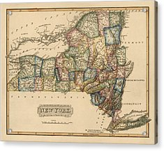 Antique Map Of New York State By Fielding Lucas - Circa 1817 Acrylic Print by Blue Monocle
