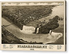Antique Map Of Niagara Falls New York By H. Wellge - 1882 Acrylic Print