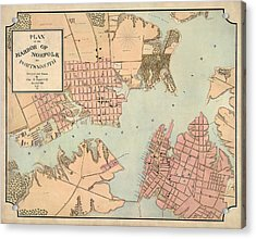 Antique Map Of Norfolk And Portsmouth Virginia By Charles E. Cassell - 1861 Acrylic Print