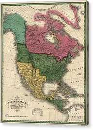 Antique Map Of North America By D. H. Vance - 1826 Acrylic Print by Blue Monocle
