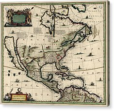 Antique Map Of North America By Jan Jansson - Circa 1652 Acrylic Print by Blue Monocle