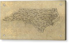 Acrylic Print featuring the drawing Antique Map Of North Carolina - 1893 by Blue Monocle