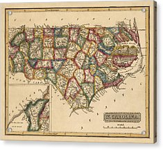 Antique Map Of North Carolina By Fielding Lucas - Circa 1817 Acrylic Print by Blue Monocle