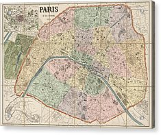 Antique Map Of Paris France By Delagrave - 1878 Acrylic Print