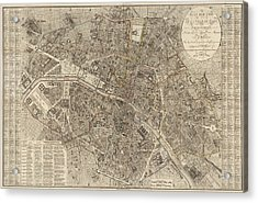 Antique Map Of Paris France By Ledoyen - 1823 Acrylic Print