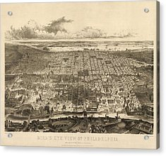 Antique Map Of Philadelphia By John Bachmann - 1857 Acrylic Print by Blue Monocle