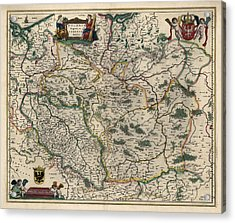 Acrylic Print featuring the drawing Antique Map Of Poland By Willem Janszoon Blaeu - 1647 by Blue Monocle