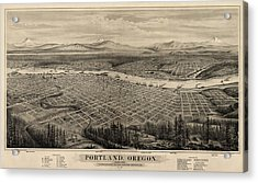 Antique Map Of Portland Oregon By E.s. Glover - 1879 Acrylic Print by Blue Monocle