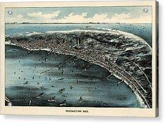 Antique Map Of Provincetown Massachusetts - 1910 Acrylic Print by Blue Monocle