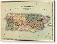 Antique Map Of Puerto Rico - 1886 Acrylic Print