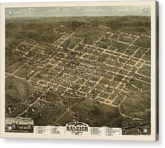 Antique Map Of Raleigh North Carolina By C. N. Drie - 1872 Acrylic Print