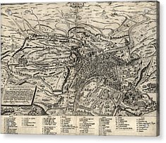 Antique Map Of Rome Italy By Sebastianus Clodiensis - 1561 Acrylic Print by Blue Monocle