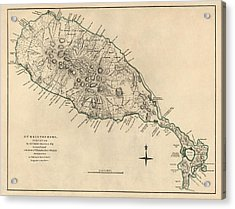 Antique Map Of Saint Kitts And Nevis By Thomas Jefferys - 1768 Acrylic Print by Blue Monocle
