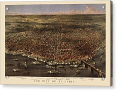 Antique Map Of Saint Louis By Currier And Ives - 1874 Acrylic Print by Blue Monocle