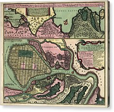 Antique Map Of Saint Petersburg Russia By Matthaeus Seutter - Circa 1734 Acrylic Print by Blue Monocle