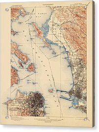 Antique Map Of San Francisco And The Bay Area - Usgs Topographic Map - 1899 Acrylic Print by Blue Monocle
