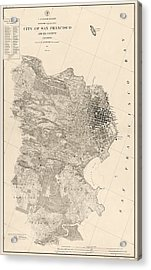 Antique Map Of San Francisco By A. F. Rodgers - 1857 Acrylic Print by Blue Monocle