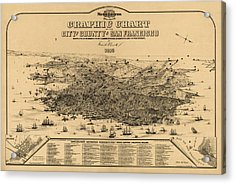 Acrylic Print featuring the drawing Antique Map Of San Francisco By Frederick Marriott - 1875 by Blue Monocle