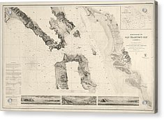 Antique Map Of San Francisco - Usgs Coast Survey Map - 1859 Acrylic Print by Blue Monocle