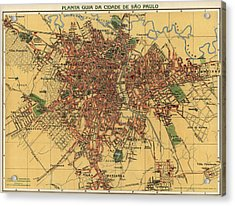 Antique Map Of Sao Paulo Brazil By Alexandre Mariano Cococi - 1913 Acrylic Print