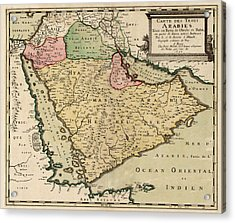 Antique Map Of Saudi Arabia And The Arabian Peninsula By Nicolas Sanson - 1654 Acrylic Print by Blue Monocle