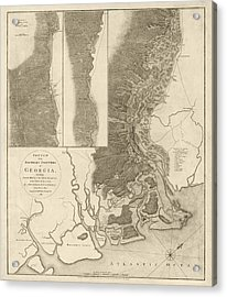 Antique Map Of Savannah Georgia By Archibald Campbell - 1780 Acrylic Print by Blue Monocle