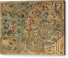 Antique Map Of Scandinavia 1539 Acrylic Print by Mountain Dreams