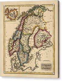 Antique Map Of Scandinavia By Fielding Lucas - Circa 1817 Acrylic Print