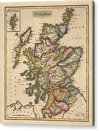 Antique Map Of Scotland By Fielding Lucas - Circa 1817 Acrylic Print