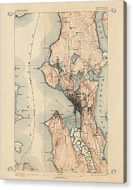 Antique Map Of Seattle - Usgs Topographic Map - 1894 Acrylic Print by Blue Monocle