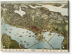 Antique Map Of Seattle Washington By Augustus Koch - 1891 Acrylic Print