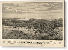 Antique Map Of Seattle Washington By E.s. Glover - 1878 Acrylic Print