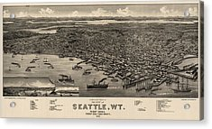Antique Map Of Seattle Washington By H. Wellge - 1884 Acrylic Print