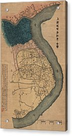 Antique Map Of Shanghai China By Dian Shi Zhai - 1884 Acrylic Print by Blue Monocle