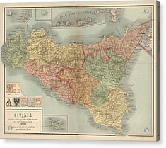 Antique Map Of Sicily Italy By Antonio Vallardi - 1900 Acrylic Print by Blue Monocle