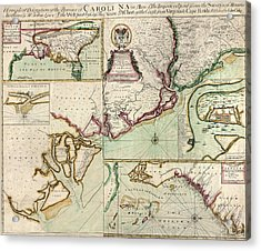 Antique Map Of South Carolina By Edward Crisp - Circa 1711 Acrylic Print by Blue Monocle