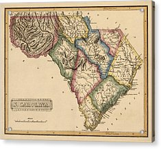Antique Map Of South Carolina By Fielding Lucas - Circa 1817 Acrylic Print by Blue Monocle
