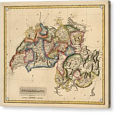 Antique Map Of Switzerland By Fielding Lucas - Circa 1817 Acrylic Print by Blue Monocle