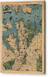 Antique Map Of Sydney Australia - 1922 Acrylic Print by Blue Monocle