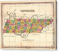 Antique Map Of Tennessee 1827 Acrylic Print