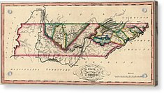 Antique Map Of Tennessee By Samuel Lewis - Circa 1810 Acrylic Print