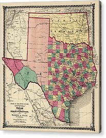 Antique Map Of Texas And Oklahoma By H. H. Lloyd And Co. - 1875 Acrylic Print
