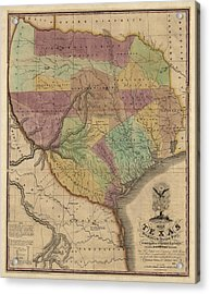 Antique Map Of Texas By Stephen F. Austin - 1837 Acrylic Print by Blue Monocle