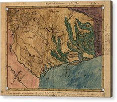 Antique Map Of Texas By Stephen F. Austin - Circa 1822 Acrylic Print by Blue Monocle