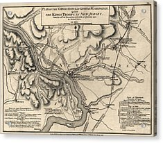 Antique Map Of The Battle Of Trenton By William Faden - 1777 Acrylic Print