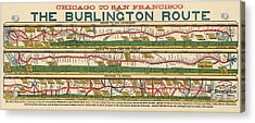 Antique Map Of The Burlington Route By H. R. Page And Co. - Circa 1879 Acrylic Print