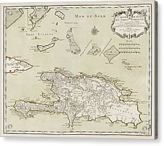 Antique Map Of The Dominican Republic And Haiti By Jacques Nicolas Bellin - 1745 Acrylic Print by Blue Monocle