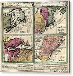 Antique Map Of Colonial America By Homann Erben - Circa 1760 Acrylic Print by Blue Monocle
